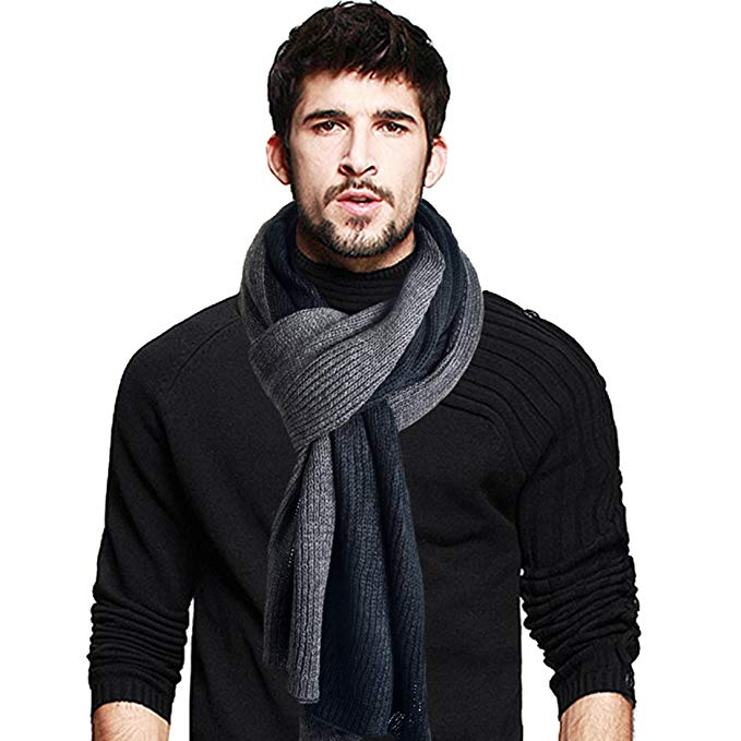 Two-tone Stylish Men Soft Knit Winter Infinity Long Scarf