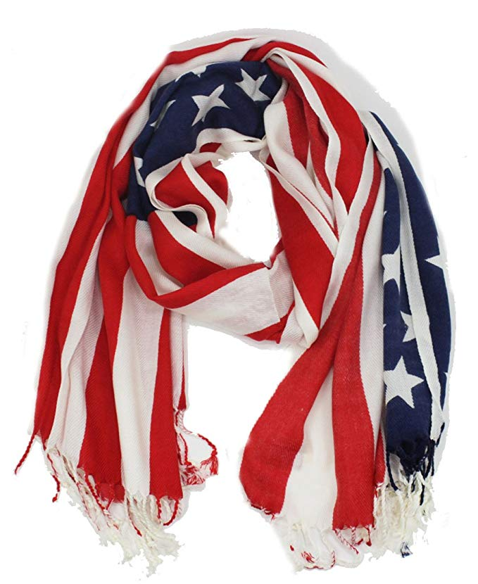 Soft American USA Flag Print Wrap Shawl Scarf 80