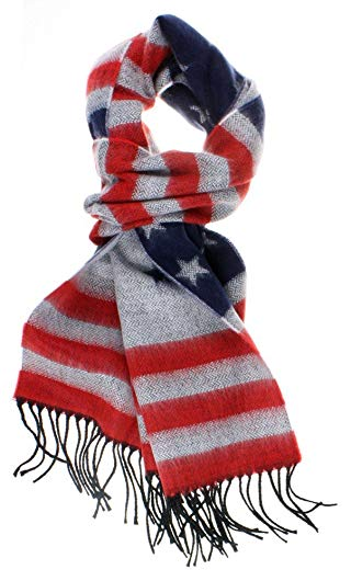 DRY77 Premium Patriotic United States Flag Scarf with Cashmere Feel Fabric