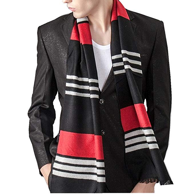 xhorizon TM FL SJ9 Korean Fashion Unisex Silk Royal Stripe Long Scarf Wrap Shawl