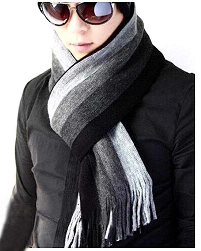 Men's Tissue Long Scarf Fringe Striped Winter Warm Cashmere Wool Knit Shawl Wrap