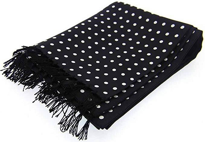 David Van Hagen Mens Polka Dot Luxury Fashion Silk Scarf - Black/White