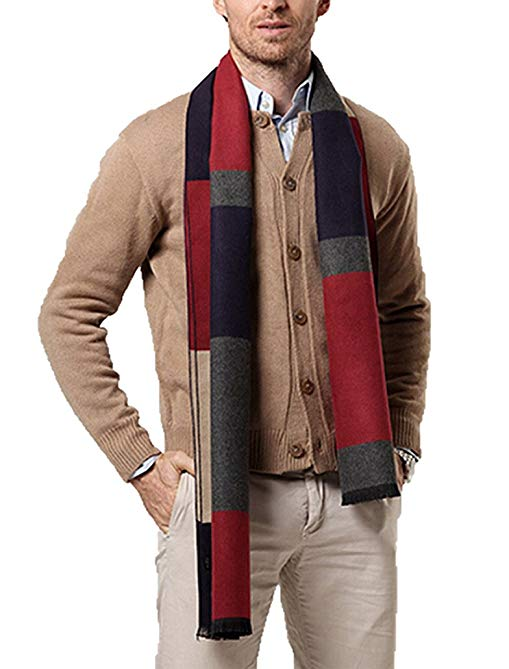 Panegy Men Cashmere Scarves Long Winter Scarf Casual Warm Thick Wap Business Men