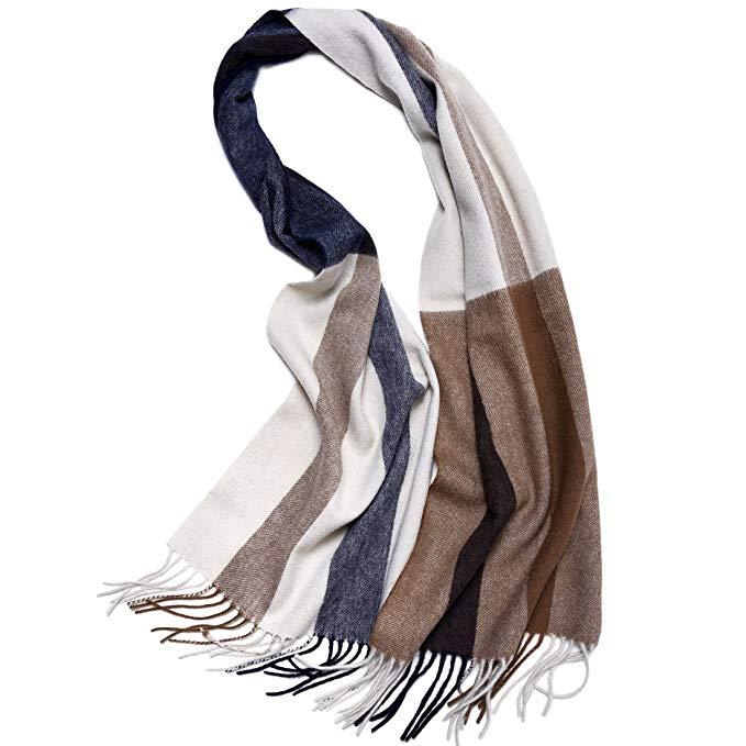 ZORJAR Wool Winter Scarf Mens Women Plaid Fashion Scarves Shawls and Wraps