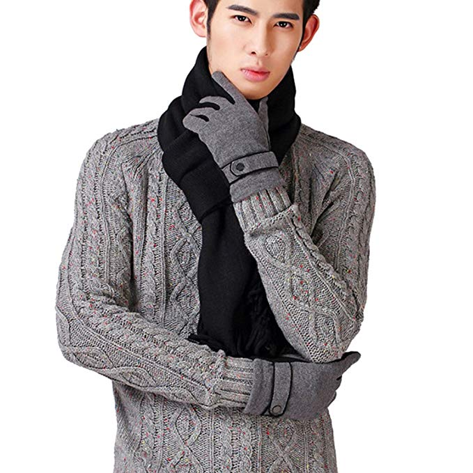 AINOW Mens Classic Cashmere Warm Knitted Tassel Scarf