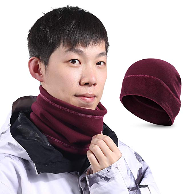 SUNMECI Neck Warmer Gaiter Scarf Beanie Hat Set Warm Fleece Lined Cold Weather Face Mask Skiing & Daily Use Men Women (2 Pieces)