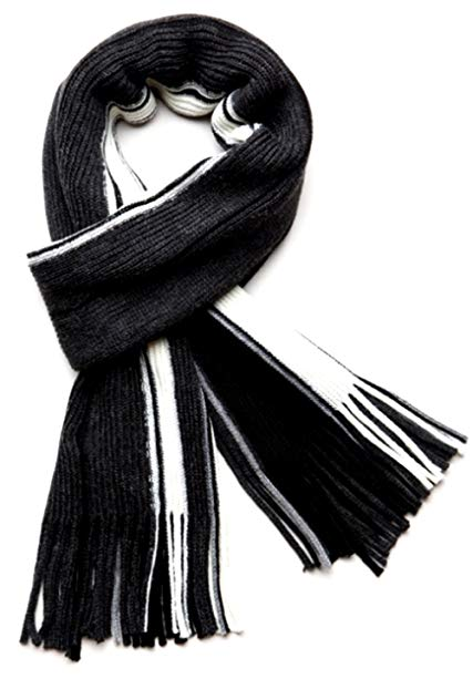 TitFus Men's 100% Fine Acrylic Knitted Long Winter Scarf Colorful Striped
