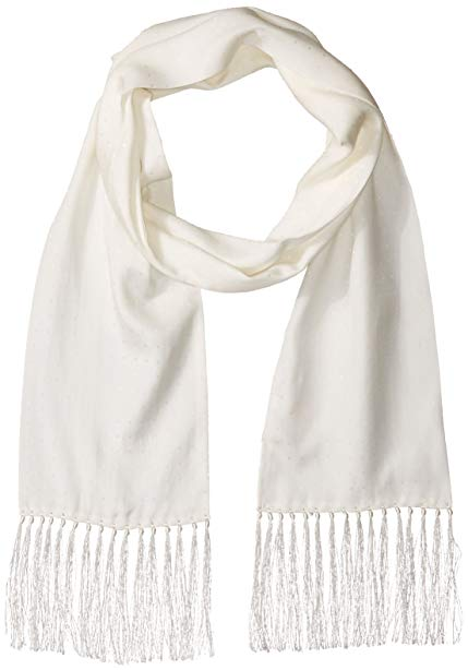 Hickey Freeman Men's Silk Jacquard White Polka Dot Tuxedo Dress Scarf
