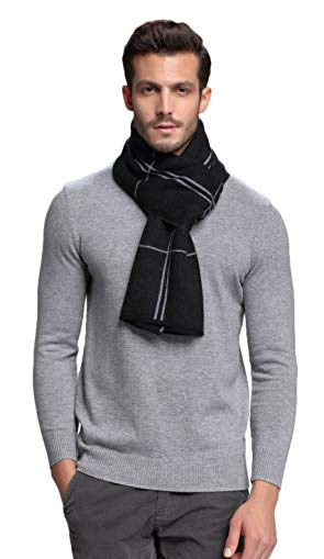 RIONA Men's Australian Merino Wool Plaid Knitted Scarf - Soft Warm Gentleman Neckwear with Gift Box