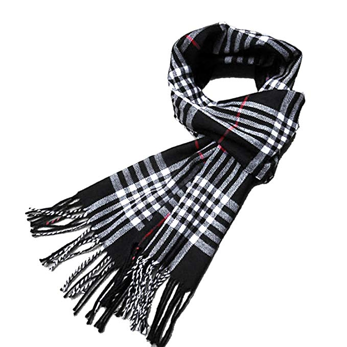 Mens Winter Cashmere Feel Soft Luxurious Elegant Warm Plaid Wrap Scarf