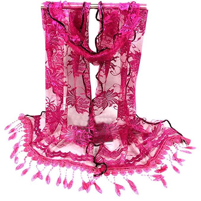 Iuhan Fashion Women Long Wrap Scarf Tassel Shawl Flower Lace Scarf Scarves