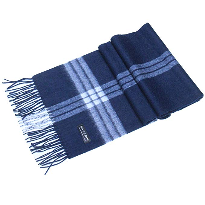 Saferin Women Men Cashmere and Wool Plaid Warm Soft Scarf with Gift Box