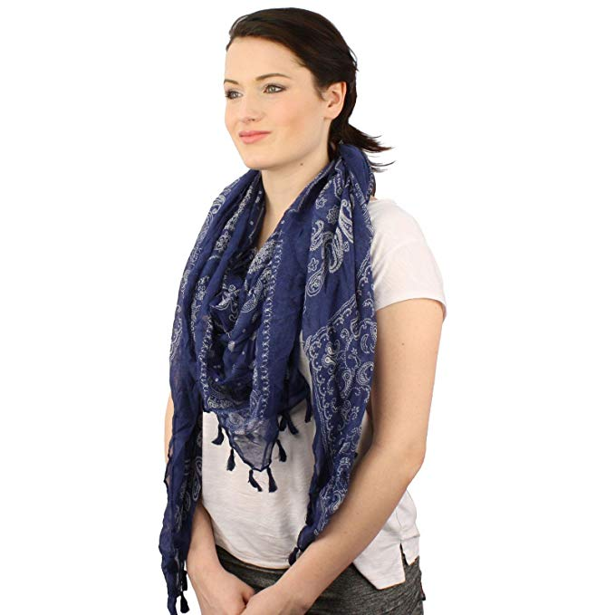 Soft Square Paisely Bandana Print Tassel Scarf Wrap Shawl Cover Up Tie Loop