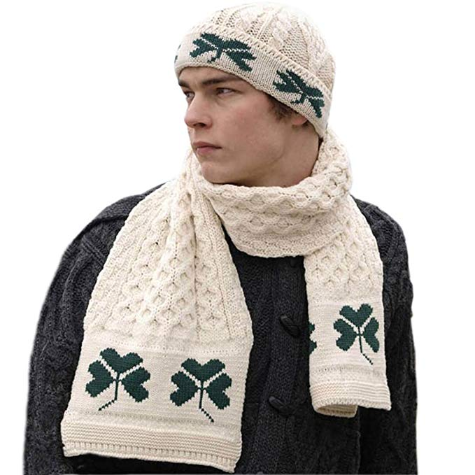 Shamrock Wool Scarf & Hat Set, 100% Irish Wool, One Size Fits All