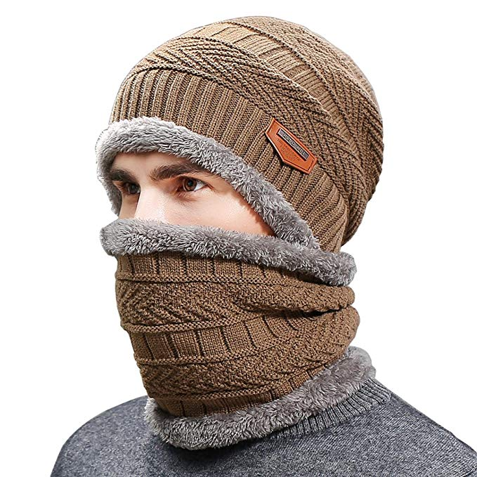 Belsen Men's Thick Warm Wool Knitted Hat and Scarf Winter Gift Set
