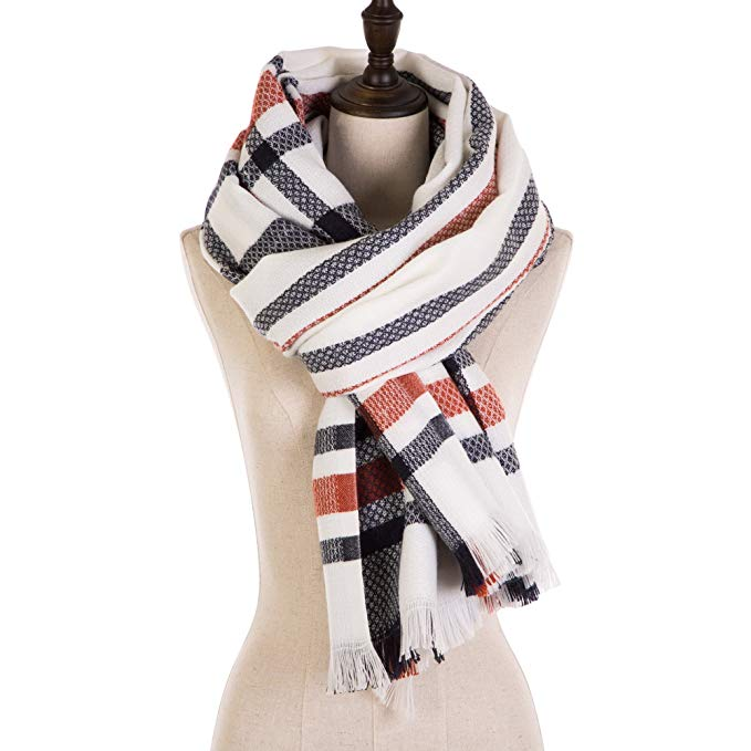 eUty Unisex Autumn Winter Soft Stripe Scarf, Large, Black/White/Gray