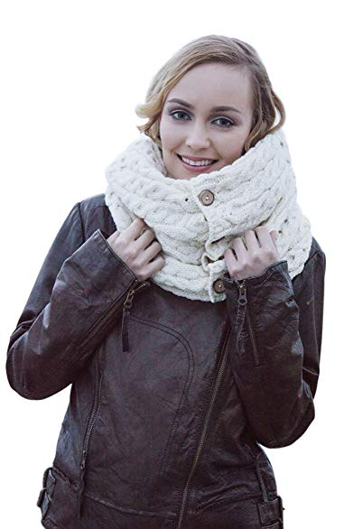 Carraig Donn 100% Merino Wool Snood Scarf with Buttons