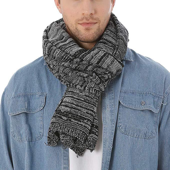 Classic Men Women Two-tone Knit Winter Scarf Oversize E5001 (Black)