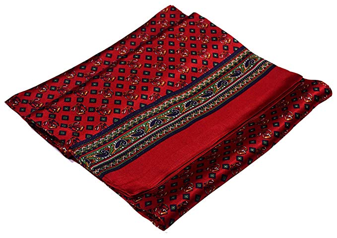 Dark Red Green Brown Squares Printed Double Layer Long Pure Silk Scarf