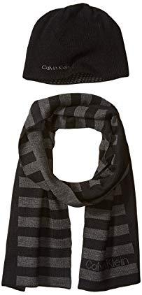 Calvin Klein Men's Logo Stripe Hat and Scarf Set, Black, One Size