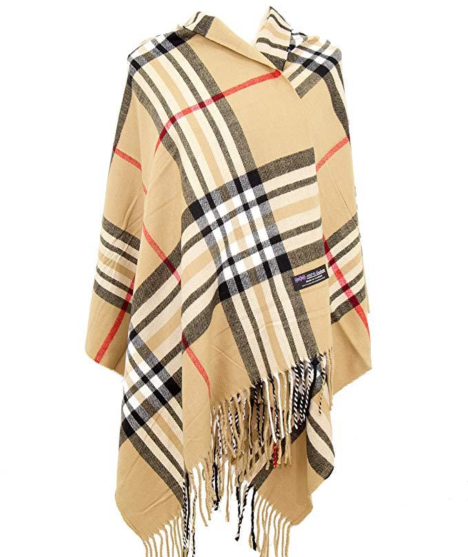 2PLY 100% Cashmere Blanket Oversized Scarf OS Tartan Nova Check Scotland Wool Plaid (Beige Camel Nova Tartan Check Plaid)
