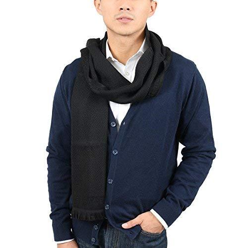 Versace IT00638 NERO Black 100% Wool Mens Scarf