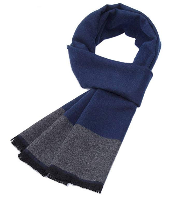 Autumn And Winter Simple Warm Long Scarves, Navy Blue And Gray