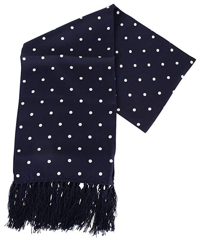 Knightsbridge Neckwear Mens Polka Dot Aviator Silk Scarf - Navy/White