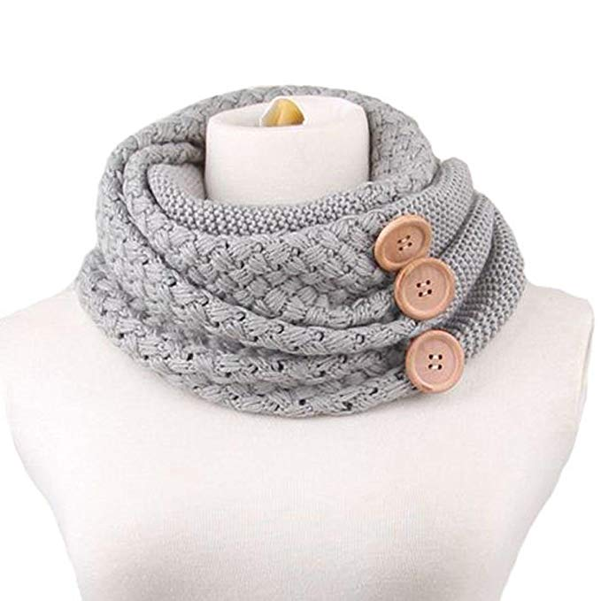 Usstore Winter Warm Two Circle Cable Knit Cowl Neck Scarf