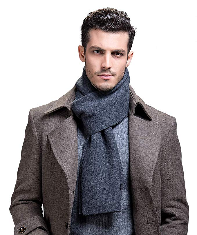 RIONA Men's 100% Australian Merino Wool Scarf Knitted Soft Warm Neckwear with Gift Box