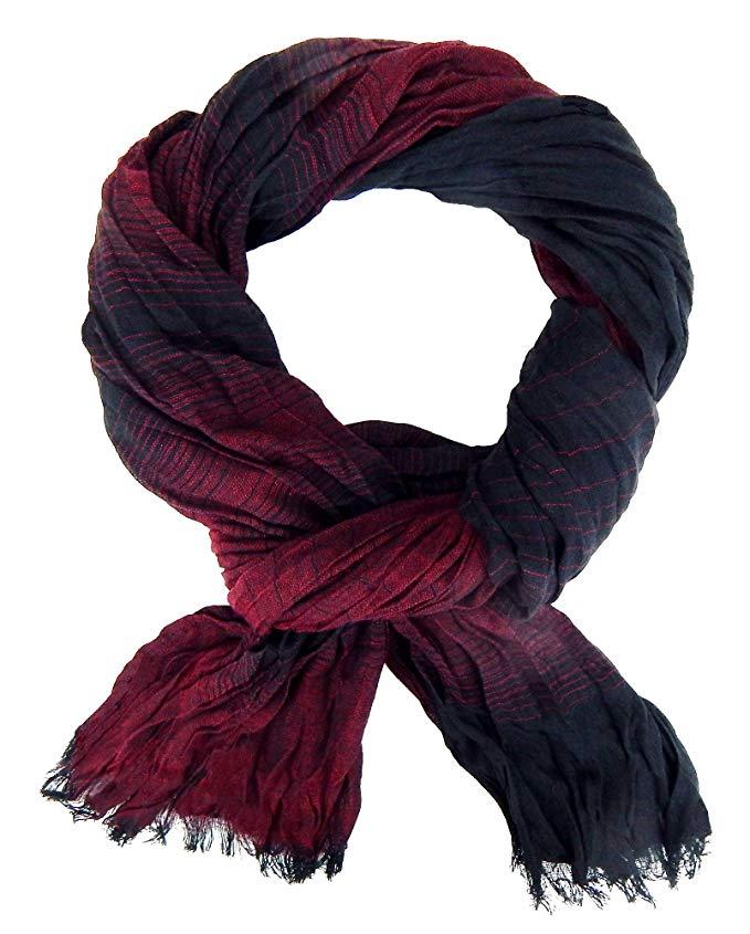 Ella Jonte mens scarf bordeaux black striped