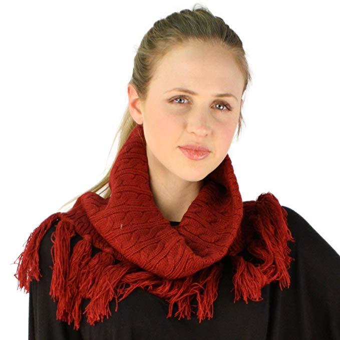 Winter Chunky Cowl Pullover Turtleneck Knit Loop Tube Tassel Fringe Scarf