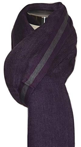 Exclusive Handcrafts Hand Spun, Handwoven Shorty Weave Pure Linen Fabric Triple Stripe edge Scarf. X1422