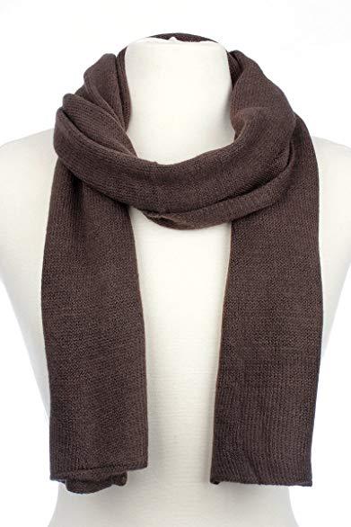 AN1225 Men's, Women's or Kids Basic Plain Knit Solid Color Scarf Muffler, Easy Neck Wrap