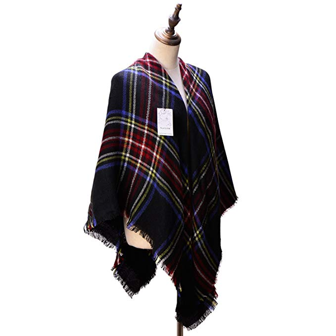 Women's Cozy Tartan Scarf Wrap Shawl Neck Stole Warm Plaid Checked Pashmina (4)