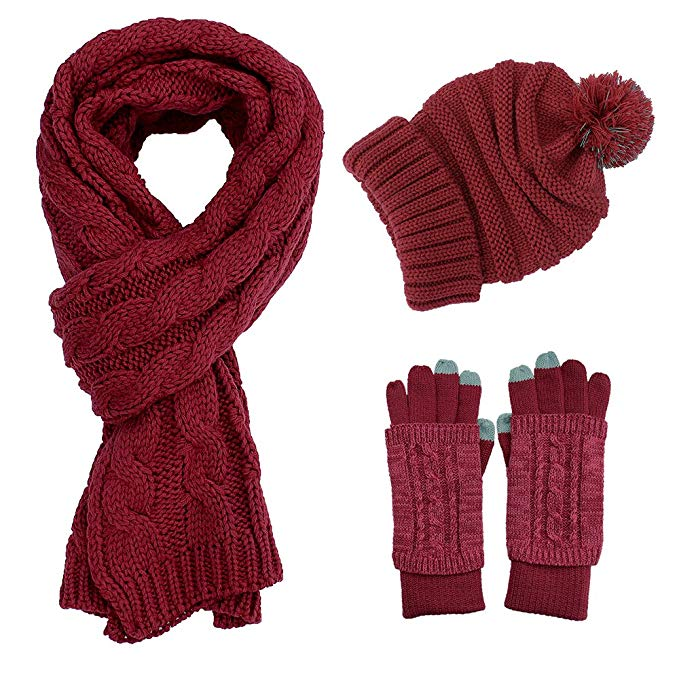 Knit Hat/Scarf/Gloves Set, Women Girls Fashion Warm Soft Cable Knitted Winter Cold Weather Gift Set
