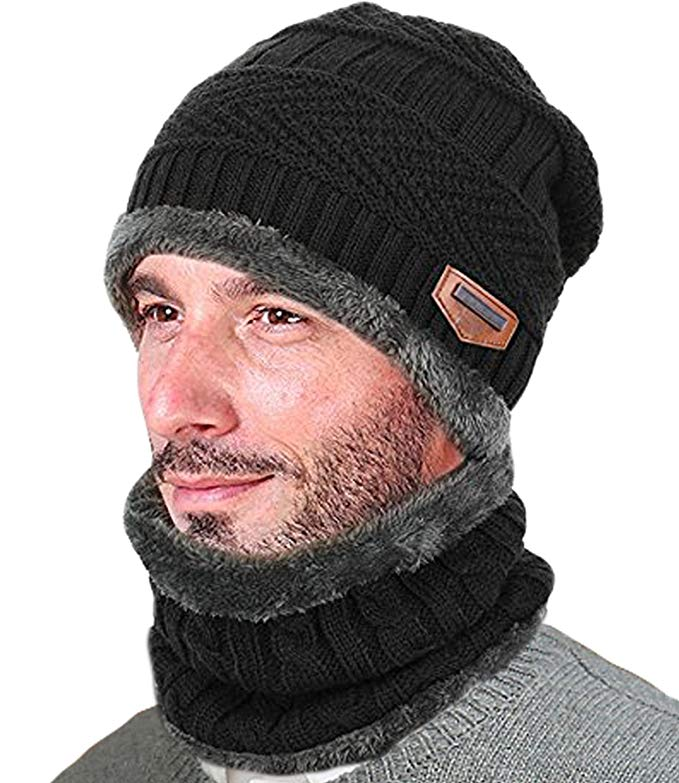 T-wilker Beanie Hat Scarf Set Knitted Hat Soft Stretch Cable Warm Fleece lining Cap