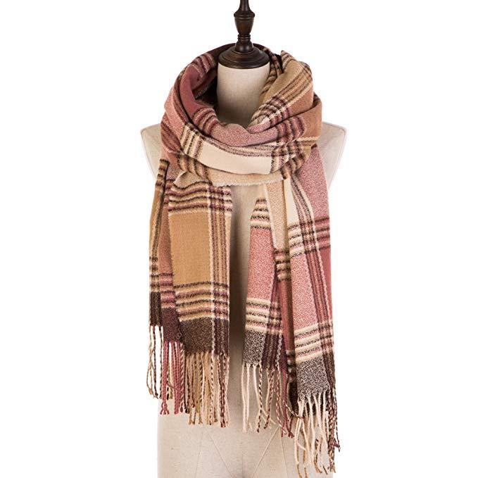 eUty Autumn Winter Soft Stripe Scarf, Pink/Cream