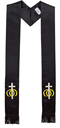 Wedding Rings Unity Cross embroidered Black Minister Clergy Stole for Weddings