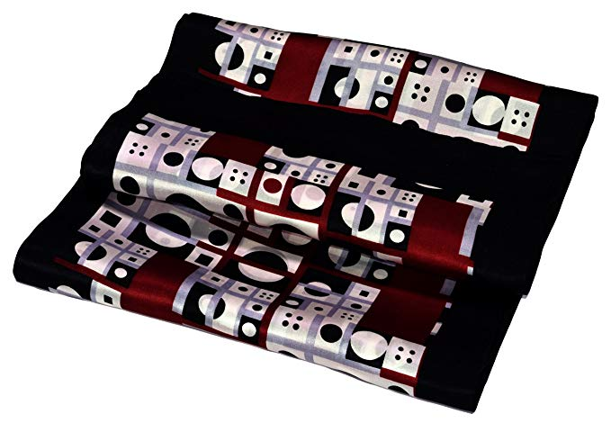 Black Red White Abstract Printed Double Layer Long Pure Silk Scarf