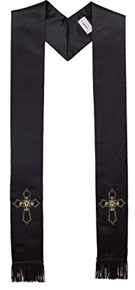 Deluxe Satin Clergy Stole with Embroidered Celtic Knot Cross