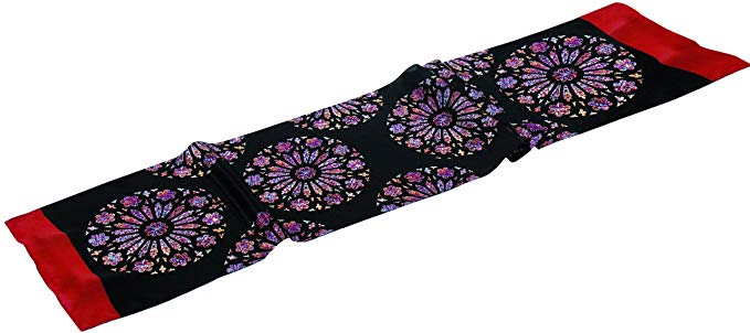 Oblong Silk Scarf in Creation Rose Window Motif