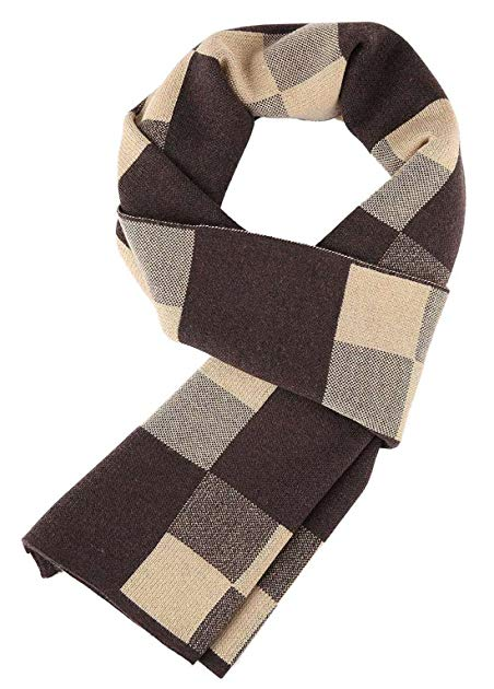 Panegy Men Scarf, Winter Fall Plaid Stripes Long Cashmere Pashmina Soft Elegant Scarves