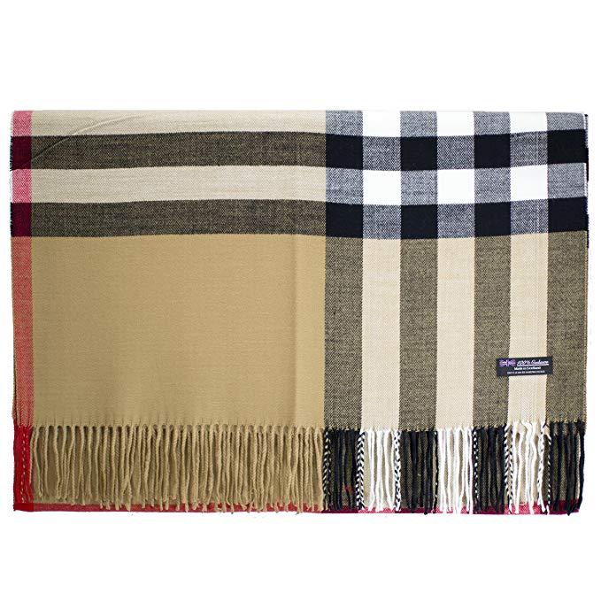 2PLY 100% Cashmere Blanket Oversized Scarf OS Tartan Check Scotland Wool Plaid
