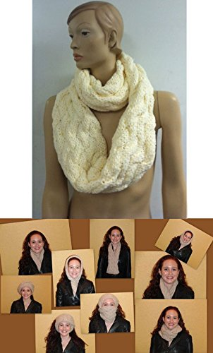 The Twist Infinity Twist Cable Knit Scarf (Ivory)