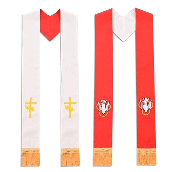 BLESSUME Priest Reversible Stole Red and White