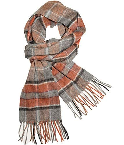 The Tie Bar Lakeview Plaid Gray and Orange Wool Scarf