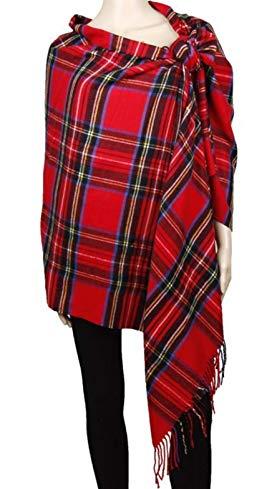 2PLY 100% Cashmere Blanket Oversized Scarf OS Tartan Check Scotland Wool Plaid (Red Stewart Tartan Plaid)