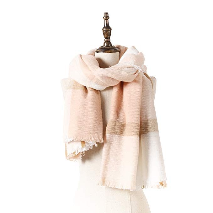 Natural Feelings Fashionable Cozy Soft Big Grid Winter Scarf Wrap Shawl for Women