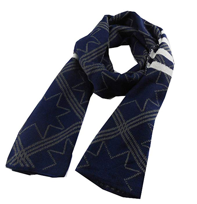 METERDE Men's Simple Wool-Like Long Knit Neck Scarf in Star Print